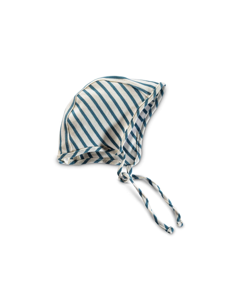 mabo organic cotton bonnet - natural/azure stripe