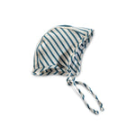 organic cotton bonnet - natural/azure stripe