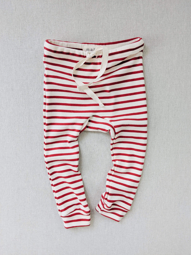 mabo organic cotton drawstring striped leggings - natural/scarlet