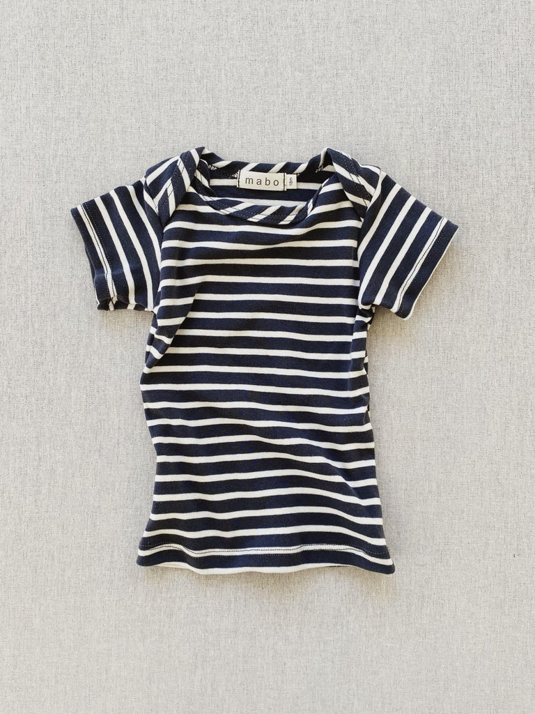 mabo organic cotton lap tee short sleeve striped nautical tee - charcoal/natural