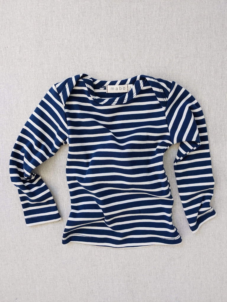mabo organic cotton striped nautical tees - blue/natural