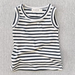 organic cotton tank top - natural/charcoal stripe