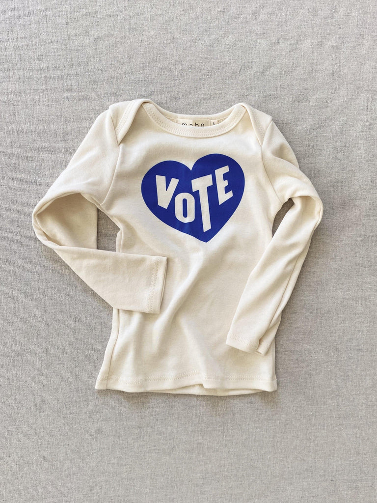 mabo Organic cotton VOTE tee - vote heart 3m / long sleeve