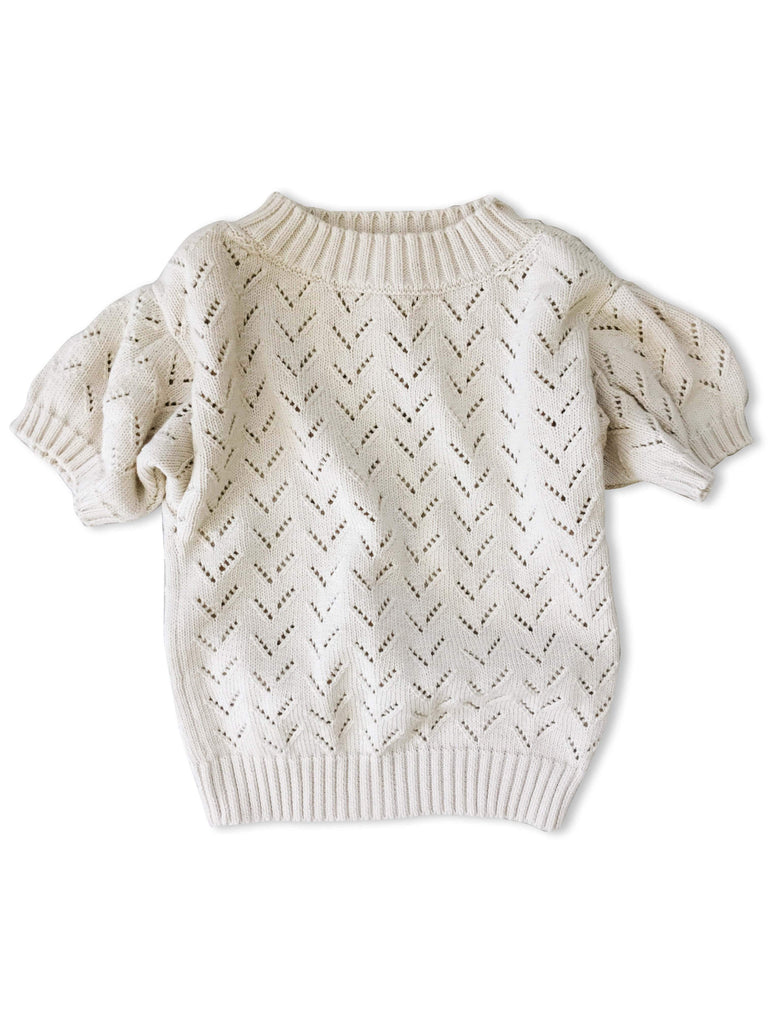 mabo puff sleeve pointelle knit pullover in cream