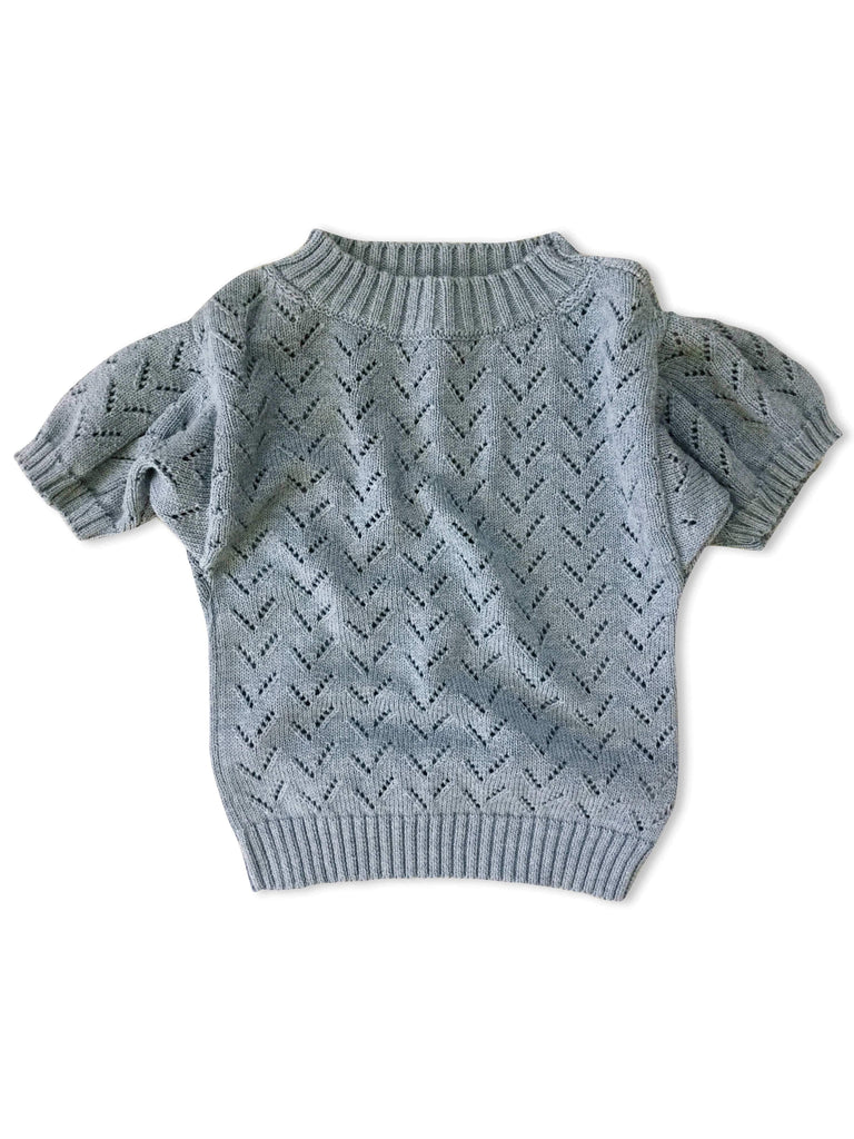 mabo puff sleeve pointelle knit pullover in ocean