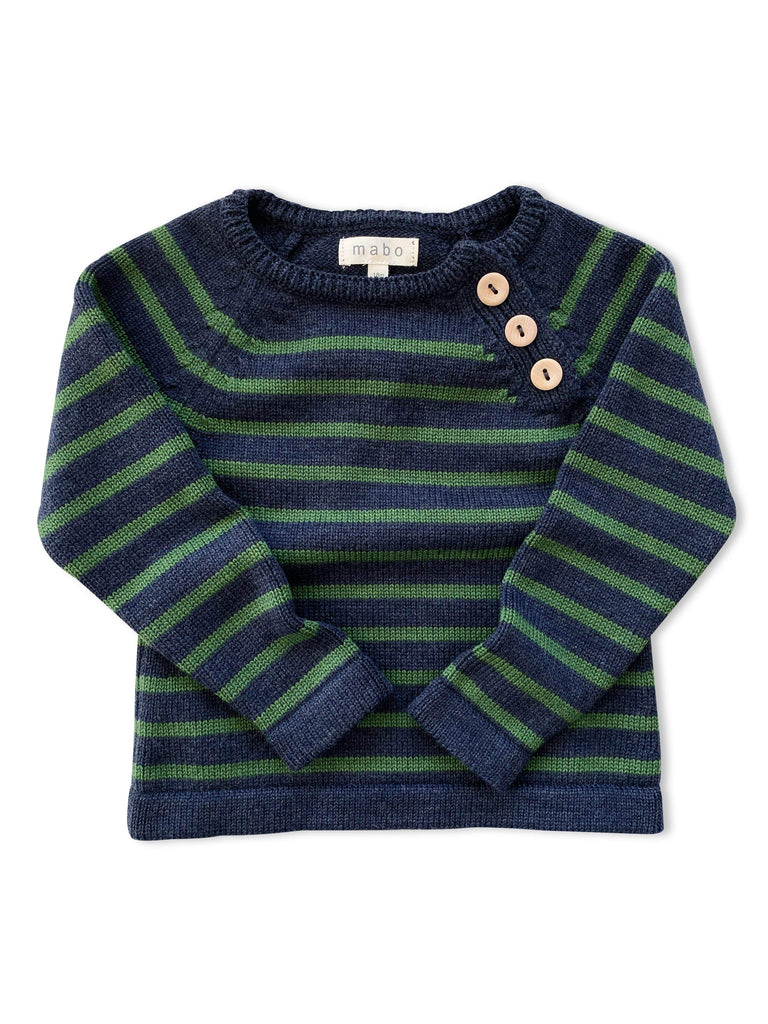 mabo three-button merino wool sweater in navy/pine stripe