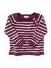 mabo three-button merino wool sweater in wine/cream stripe