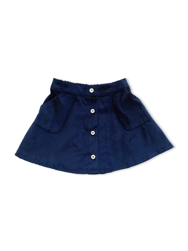 mabo tilda skirt in midnight blue corduroy
