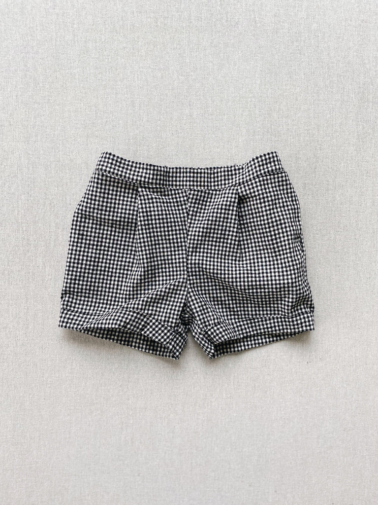 mabo trouser shorts in black and white linen gingham