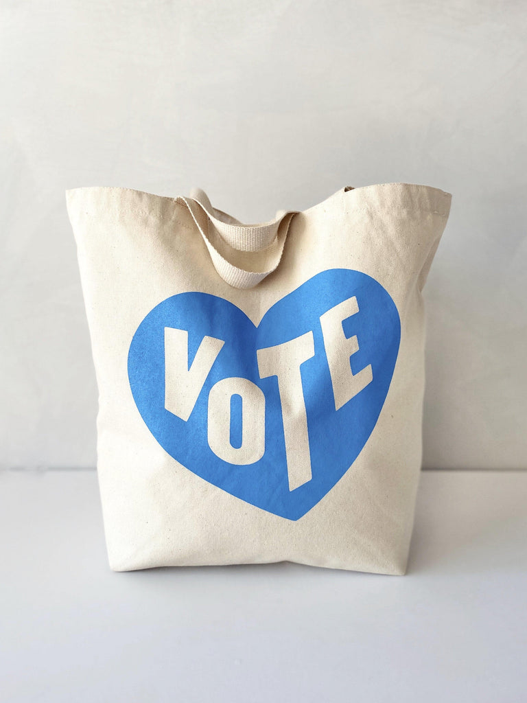 mabo VOTE tote in recycled cotton canvas - vote heart