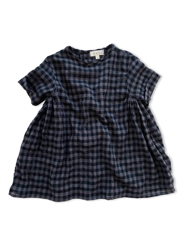 mabo willa dress in black and grey puckered gingham