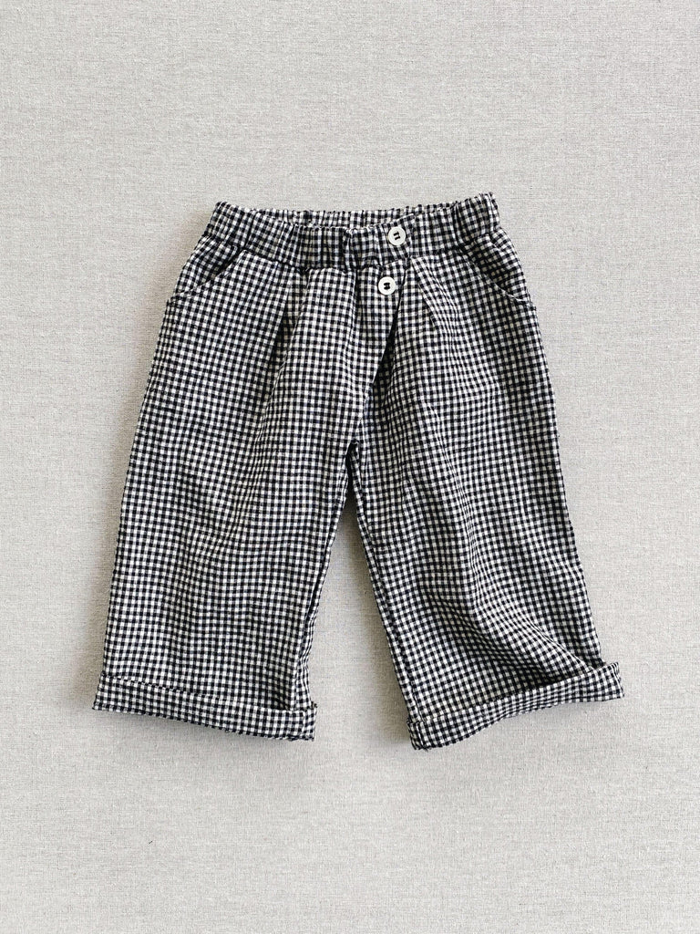 mabo wrap pants in black and white linen gingham
