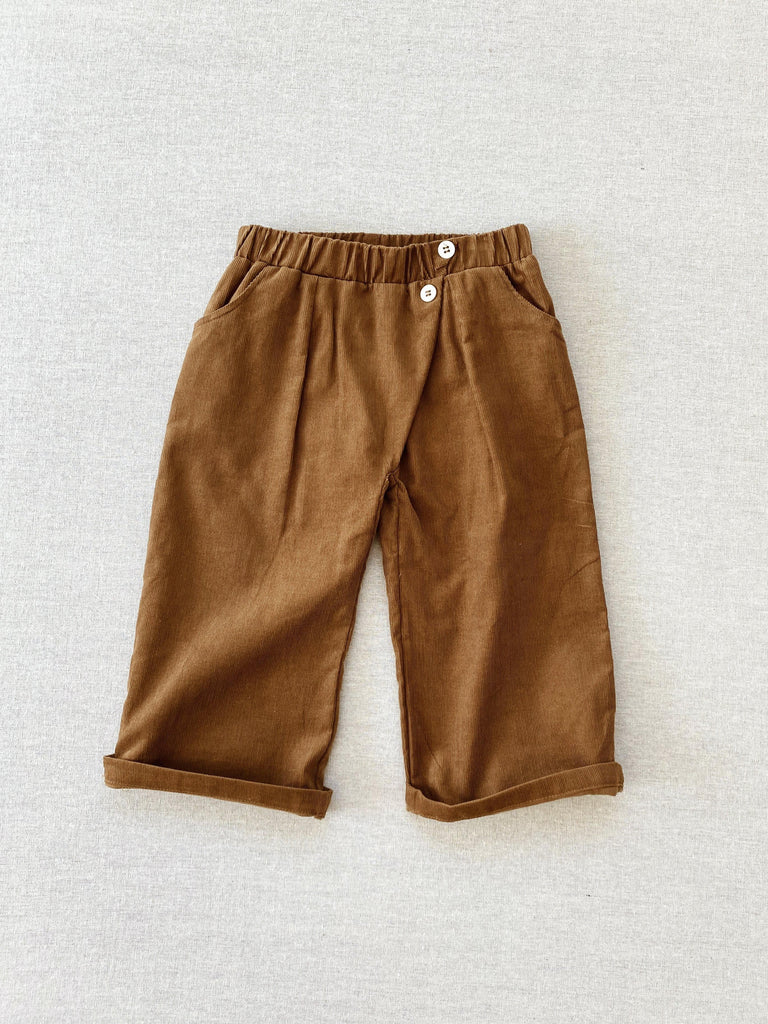 mabo wrap pants in gold corduroy