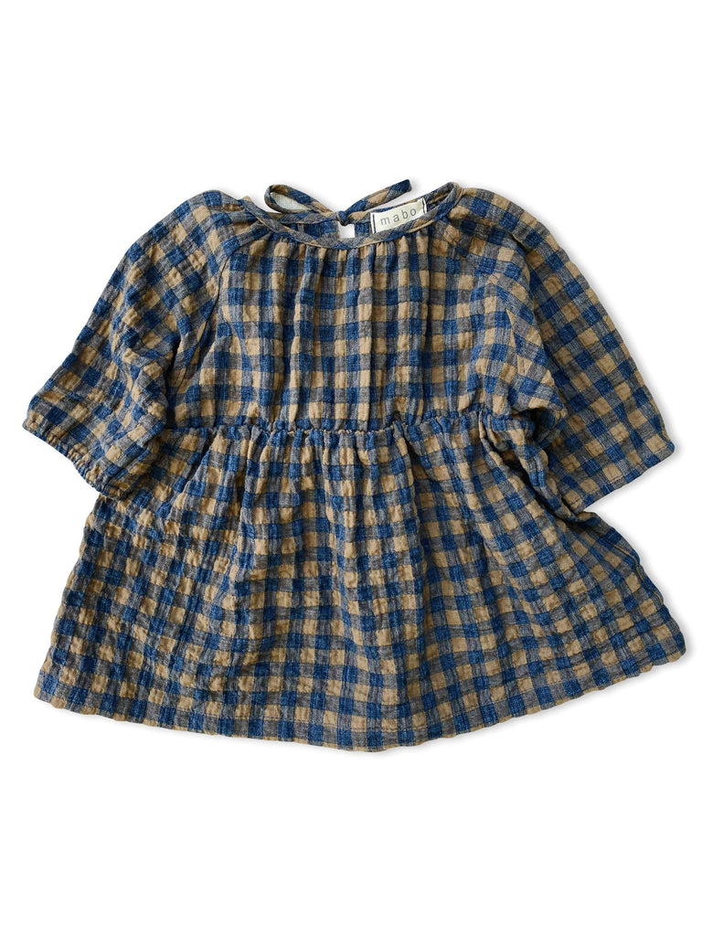 mabo wren dress in gold and navy gingham herringbone twill