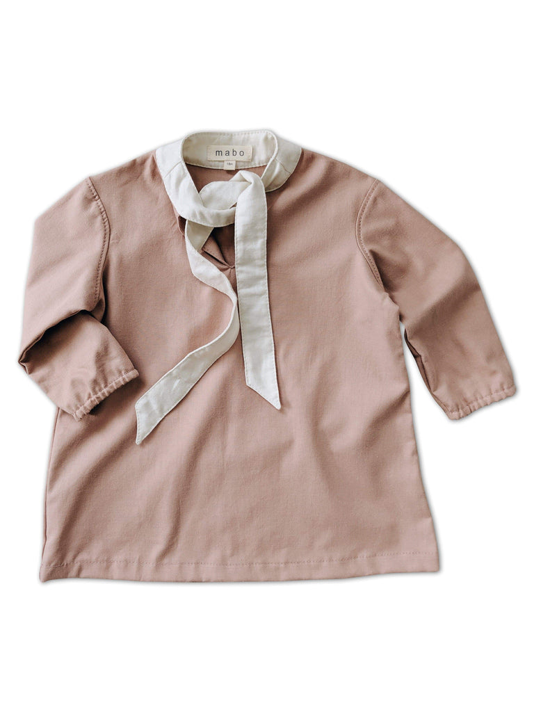 maob florence dress in blush twill with cream tie collar