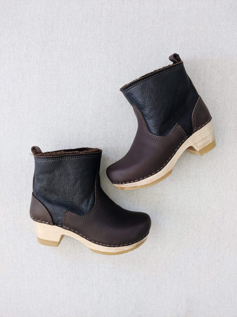 "No. 6 No. 6 5"" Pull On Shearling Clog Boot on Mid Heel in Espresso Aviator"