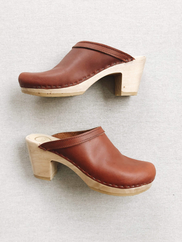 No. 6 No. 6 Old School Clog on High Heel in Bourbon
