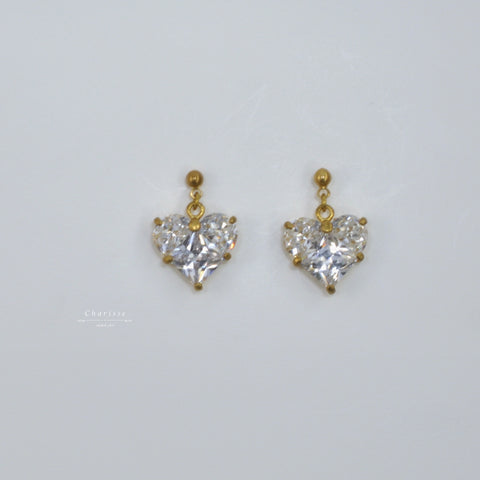 Dayna CZ Heart Diamond Earrings
