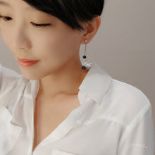 Load image into Gallery viewer, Amber Swarovski Crystal Balls With Japanese Freshwater Pearl Earrings