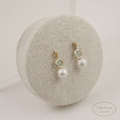 Elsa Aqua Gemstone with Marshmallow Pearl Earring