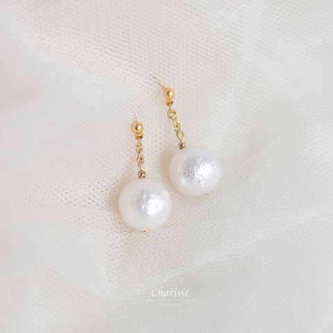 Rosalyn Japanese Marshmallow Pearl Earrings