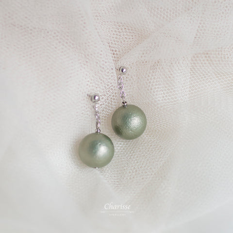 Fiona Jade Green Japanese Marshmallow Pearl Earrings