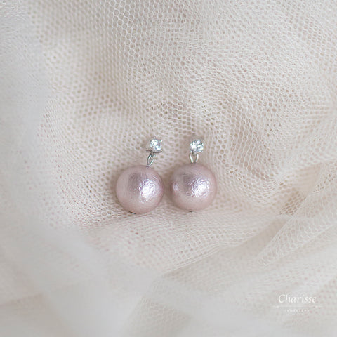Angelina Lavender Japanese Marshmallow Pearl Earrings