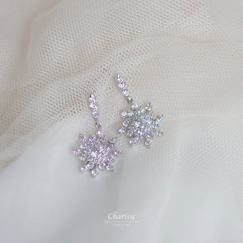 Cassandra Snowflake CZ Diamond Cluster Earrings