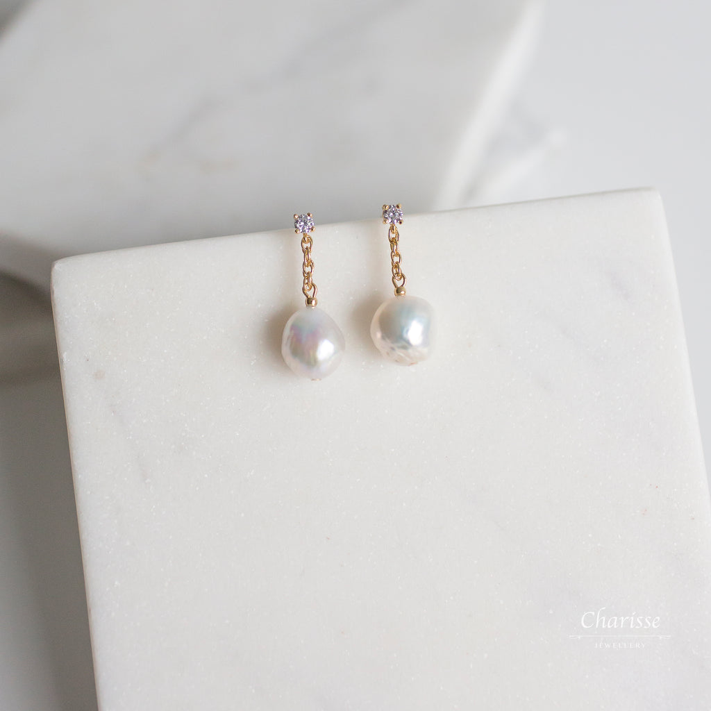 Annie Japanese Baroque Pearl Earrings