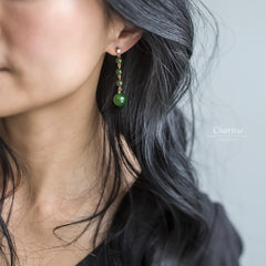 Heather Taiwanese Green Jade Earrings