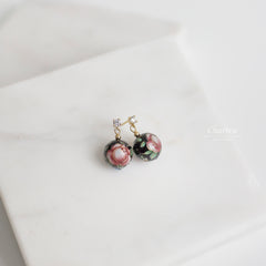 Rebecca Japanese Hand Painted Lacquered Bead Earrings