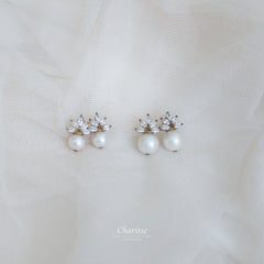 Lola Maple Leaf CZ Diamond Cluster Earrings