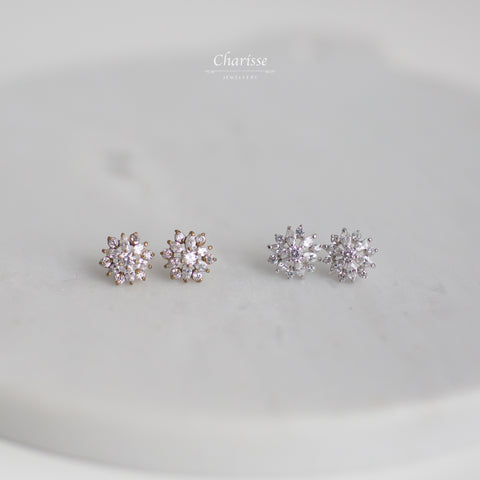Leilani Snowflake CZ Diamond Cluster Earrings