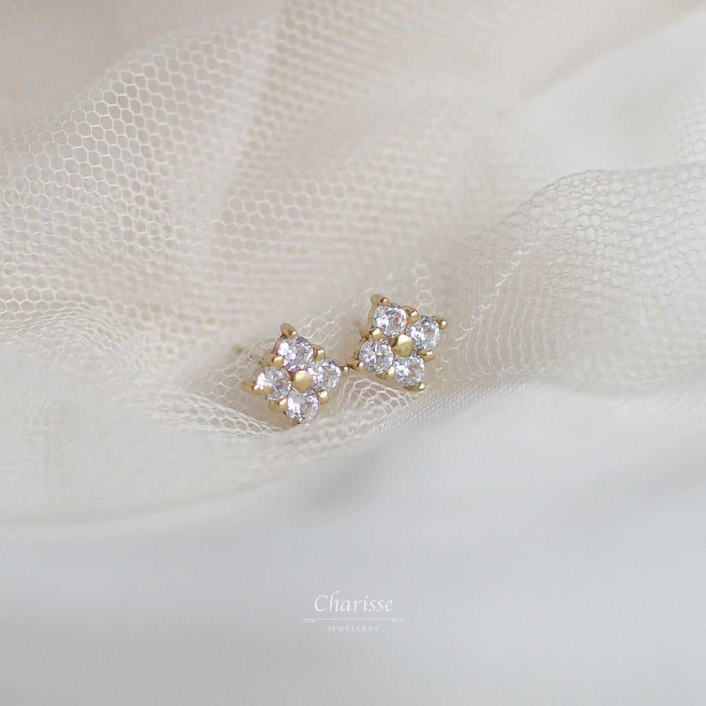 Maggie Quad CZ Diamond Cluster Earrings
