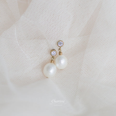 Molly Egg Shaped Japanese Marshmallow Pearl Earrings