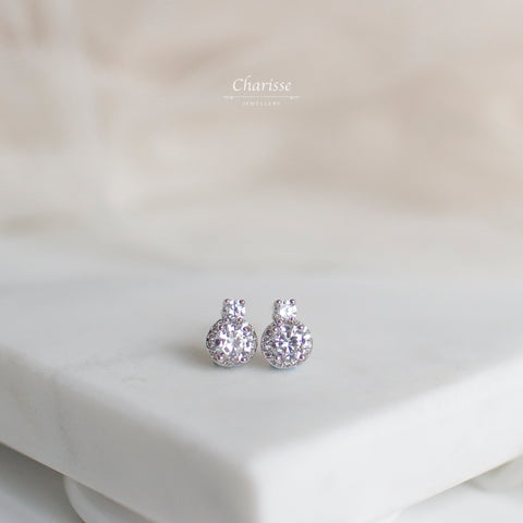 Selena Princess CZ Diamond Cluster Earrings