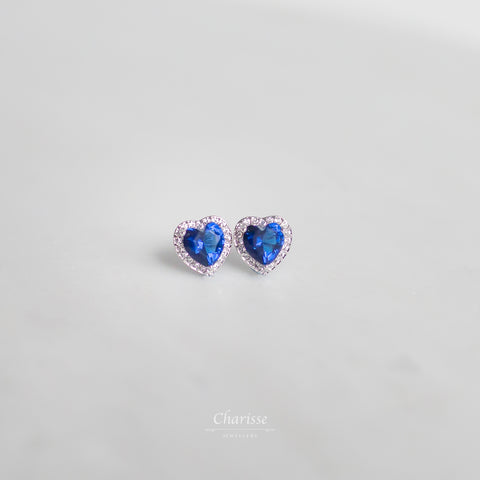 Jessica Princess Heart CZ Coloured Diamond Earrings