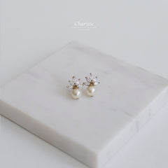 Tessa Maple Leaf CZ Diamond Cluster Earrings