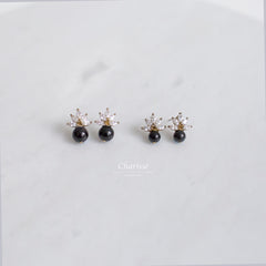 Joanna Maple Leaf Diamond & Obsidian Black Pearl Earrings