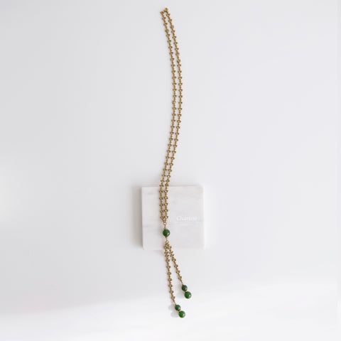 Charlotte Classical Green Jade Long Necklace
