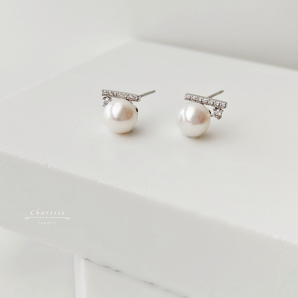 Sasa Japanese Seawater Pearl with CZ Gems Earrings