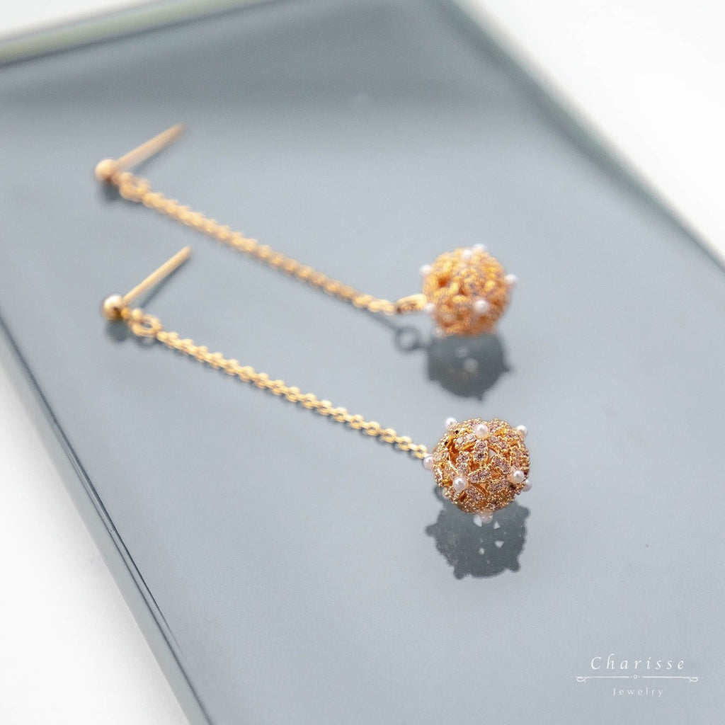 Vivian Light Gold Lace Ball Cluster Earrings