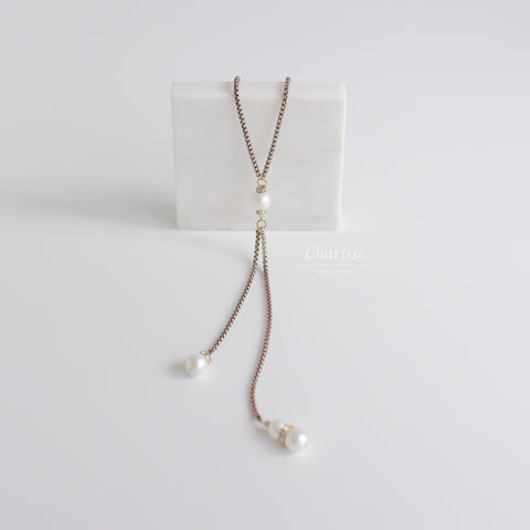 Clara Marshmallow Pearl Sweater Necklace