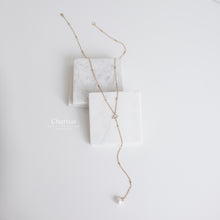 Load image into Gallery viewer, Kaitlyn Marshmallow Pearl & CZ Diamond Double Layer Long Necklace