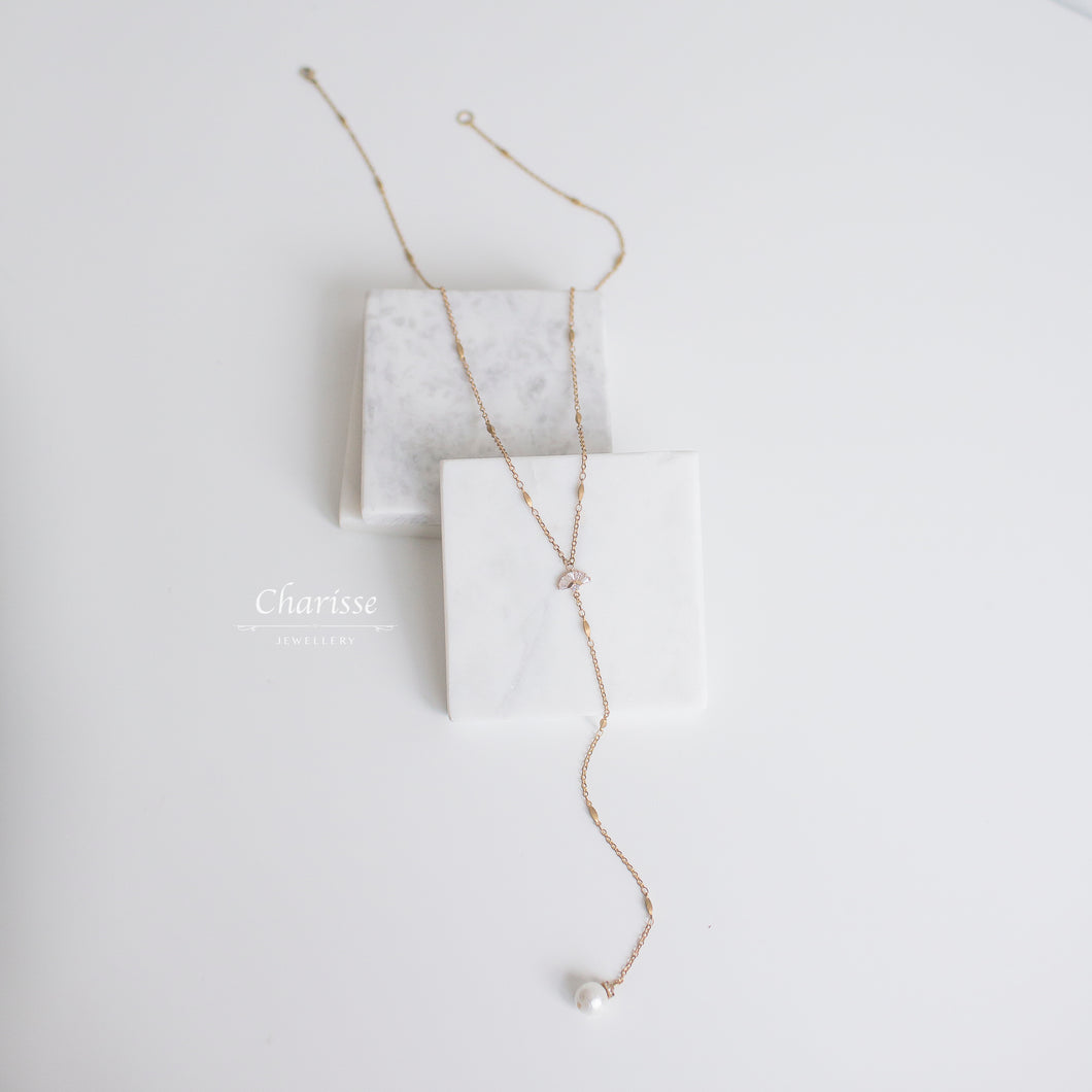 Kaitlyn Marshmallow Pearl & CZ Diamond Double Layer Long Necklace