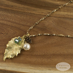 Zoey Festive Gold Leaf Cluster Pendant Long Necklace
