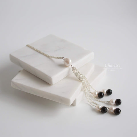 Natalie Japanese Baroque pearl & Black obsidian Long Necklace