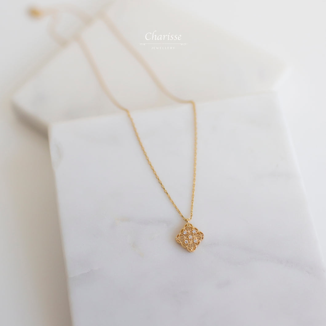 Amanda Gold Lace w/ CZ Diamond Necklace