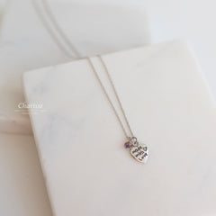 Gracie Silver Heart w/ Swarovski Crystal Necklace