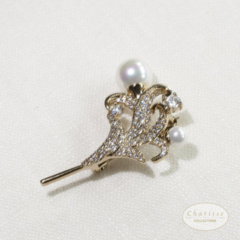 CZ Diamond Lily Brooches